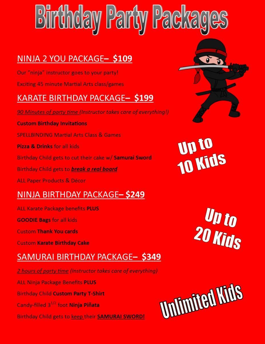 Kids Martial Arts Birthday Parties In Mesa